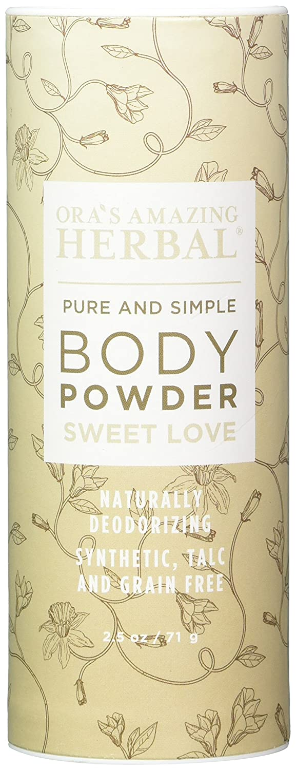Natural Body Powder, Dusting Powder, No Talc, Corn, Grain or Gluten, Sweet Love Scent (Essential Oils Vanilla Amber Ylang Ylang and Frankincense), non GMO, Ora's Amazing Herbal (Sweet Love Scent) Ora' s Amazing Herbal No Model