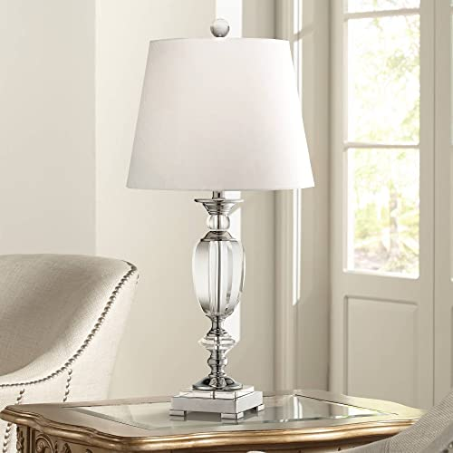 Traditional Tall Table Lamp Chrome Beveled Clear Crystal Glass Ball Urn White Drum Shade Decor