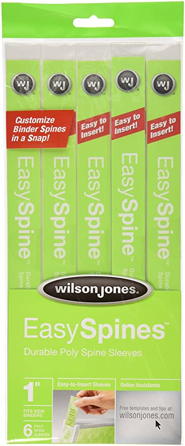 Amazon.com : Wilson Jones EasySpines Binder Inserts, 1 Inch Width, 6 ...