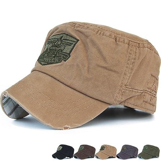 3fc3dc035e8 REDSHARKS Cadet Cap Military Army Flat Top Hat Adjustable American USA  Eagle Short Brim Khaki