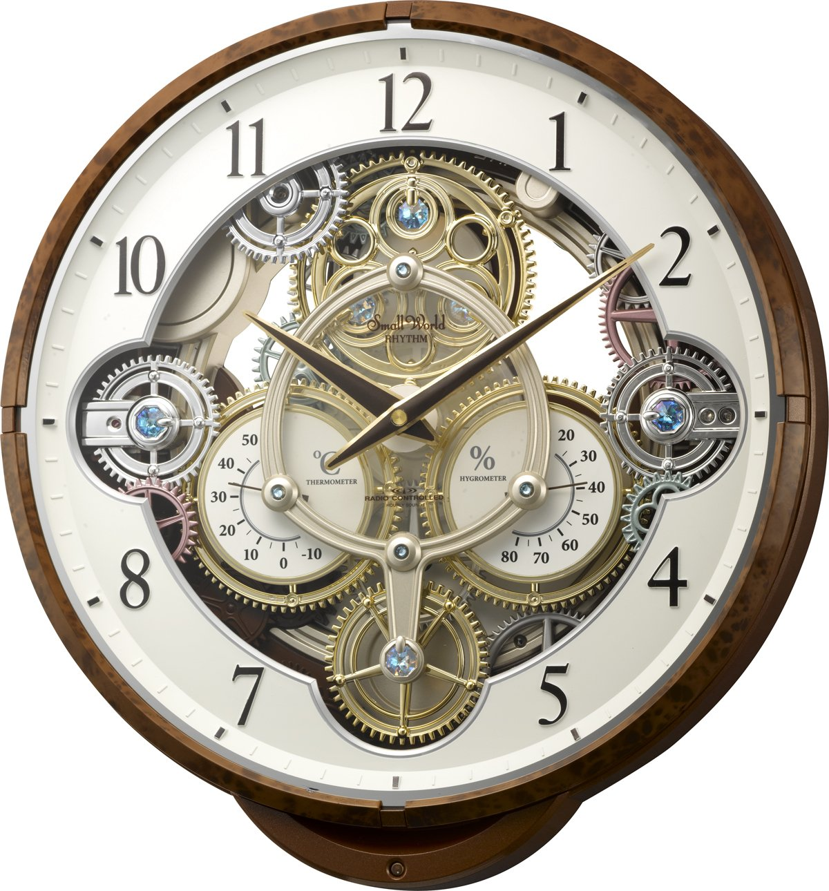Small World(リズム時計) 機械式時計をイメージした《ギアからくり時計》 プラスチック枠/木目調仕上げ 4MN515RH23 B00M2C4J10