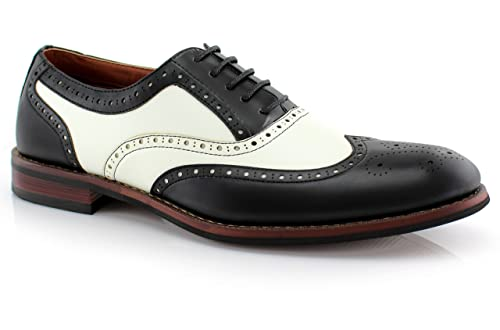 Retro Clothing for Men | Vintage Men's Fashion Ferro Aldo Mens Causal Wingtip Oxfords Modern Brogue Spectator Dress Shoes $35.99 AT vintagedancer.com