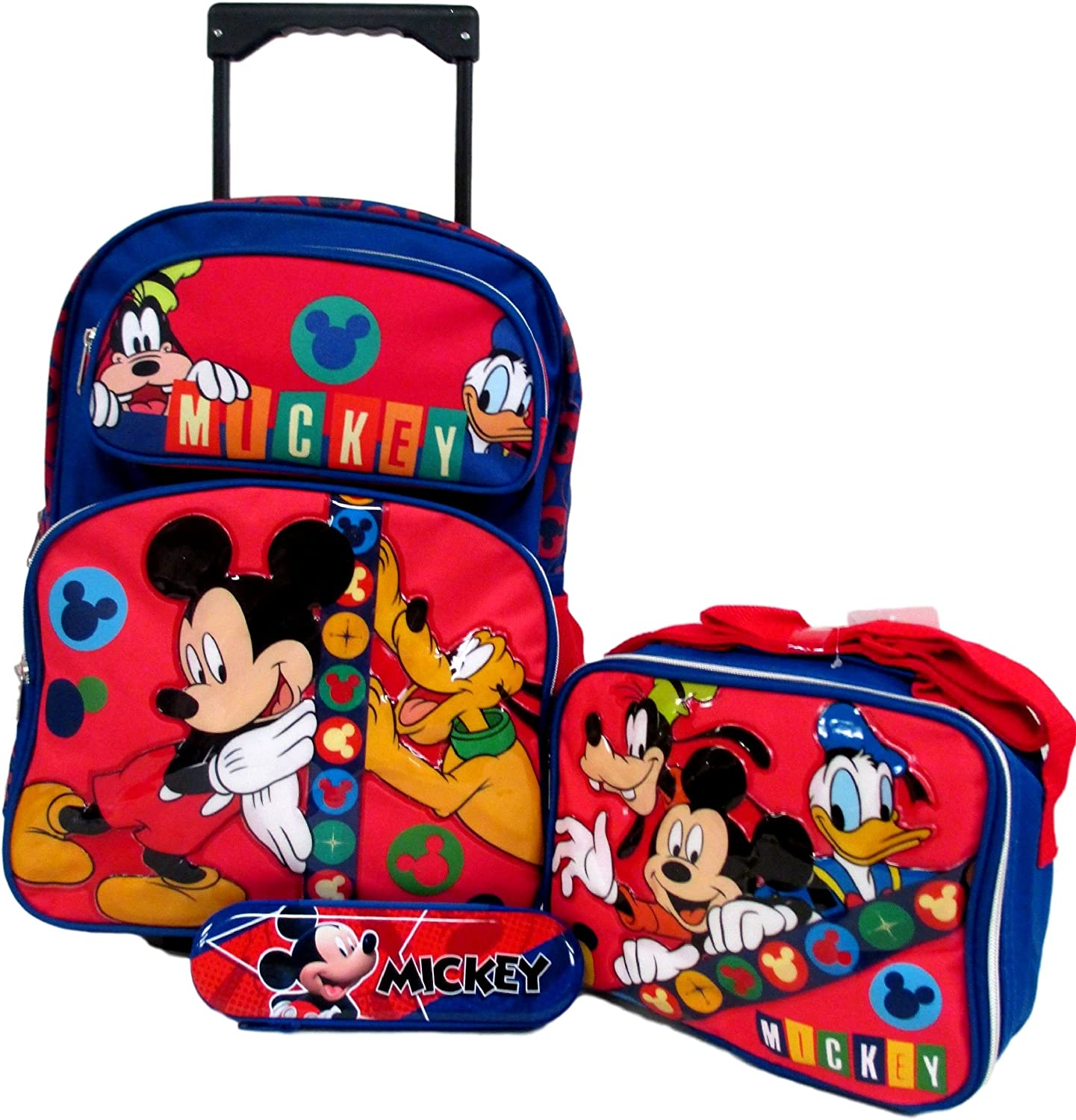 Lunch Box /& Pencil Case Set! Mickey Mouse Disney Large 16 Rolling Roller Wheeled Backpack Book Bag
