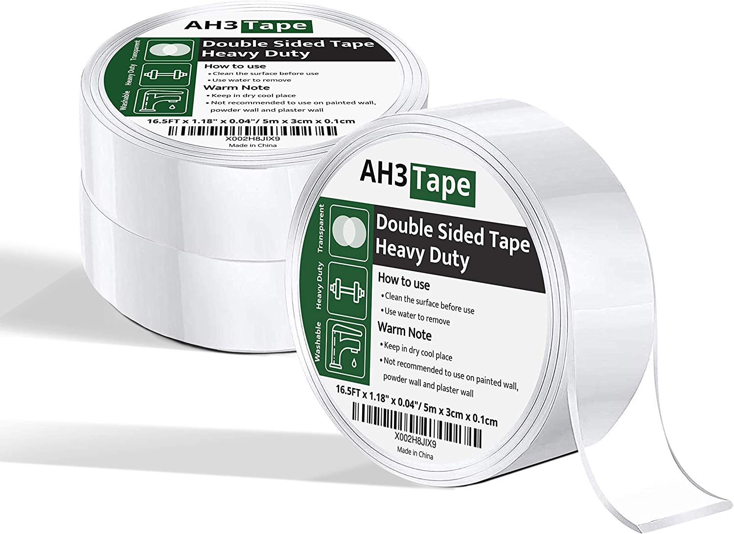 AH3 Tape 3 Rolls 49.5FT Nano Double Sided Tape for Walls - Transparent Removable Poster Tape - Picture Hanging Strips for Home Office Decoration & Organization - Alien Tape