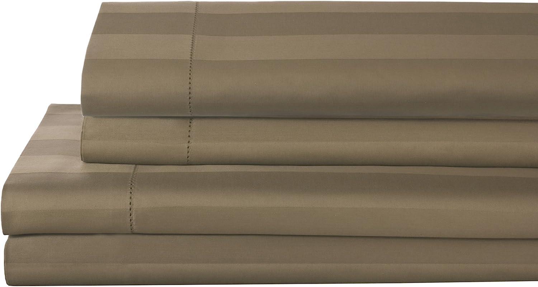 Elite Home Products T325 100% Pima Cotton Tuxedo Woven Stripe S/Set,Queen,Taupe