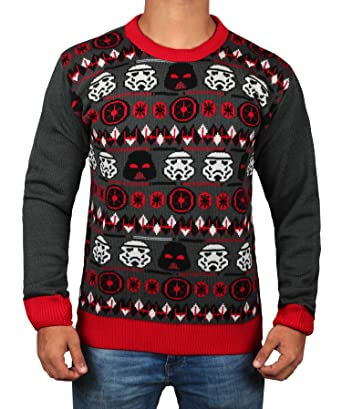 star wars storm trooper ugly christmas sweater mens adult darth vader face sweater by miracle - Ugly Christmas Sweater Star Wars