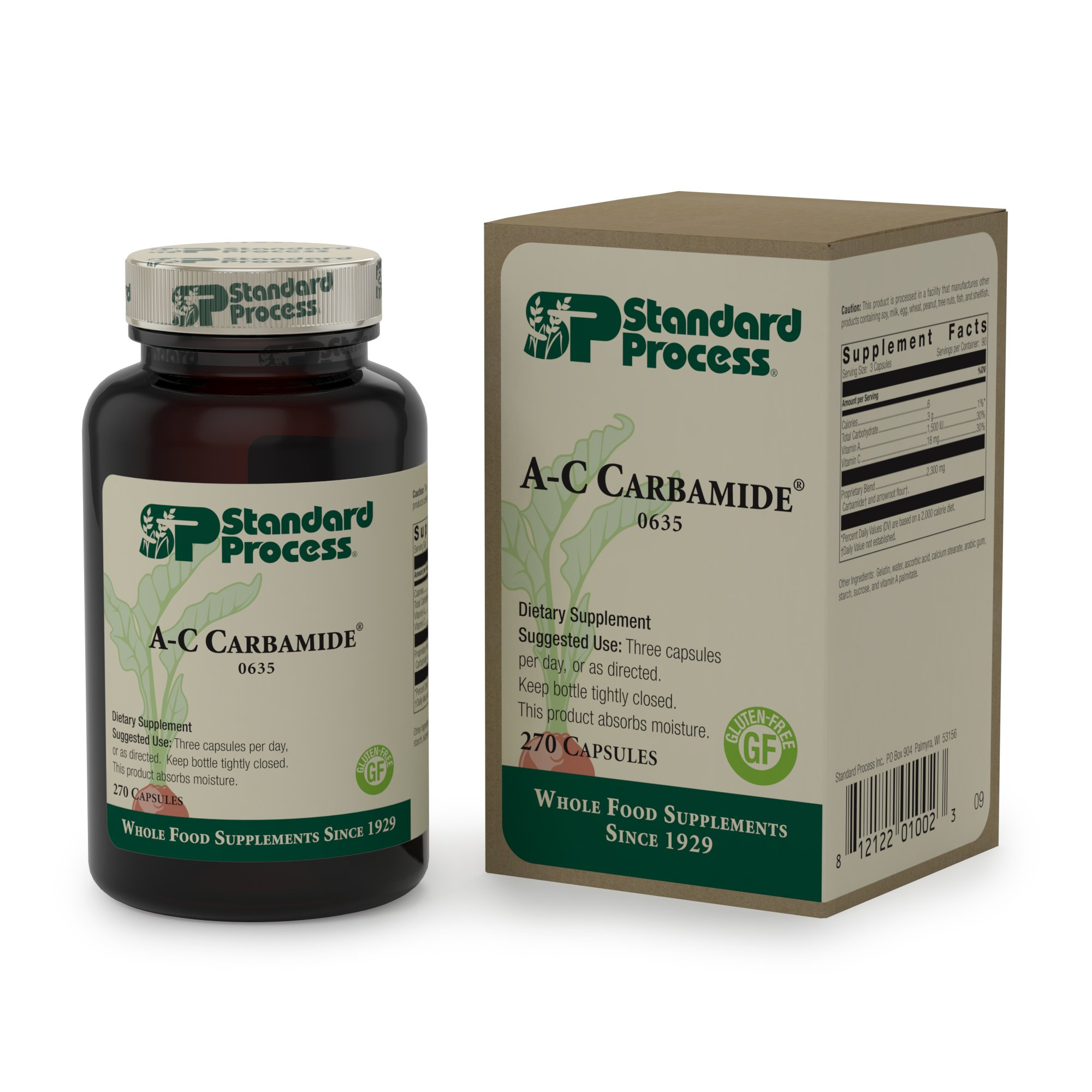 Standard Process - A-C Carbamide - 1500 IU Vitamin A, 18mg Vitamin C, Gluten Free Supplement, Supports Healthy Urinary System, Fluid Transfer and Levels - 270 Capsules