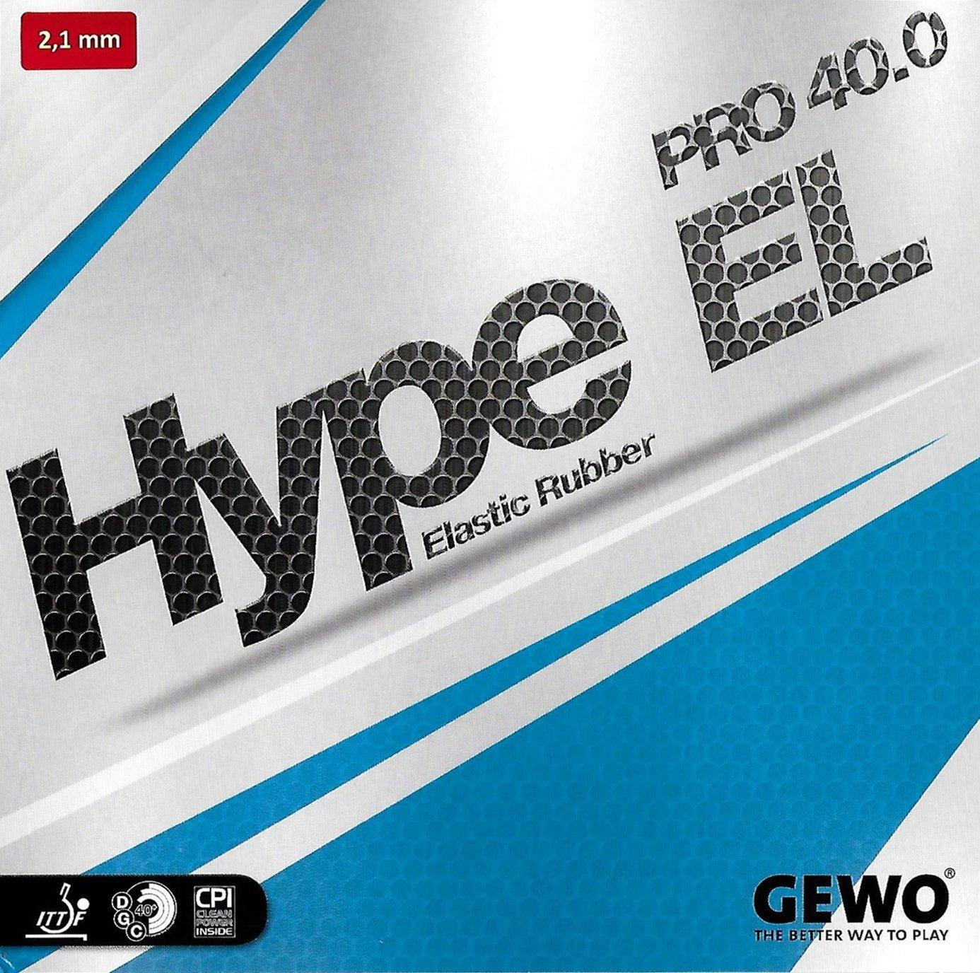 Gewo Hype El Pro 40.0テーブルテニスゴム、ブラック、2.1 MM。スポンジ厚さ B01FUFO9KQ
