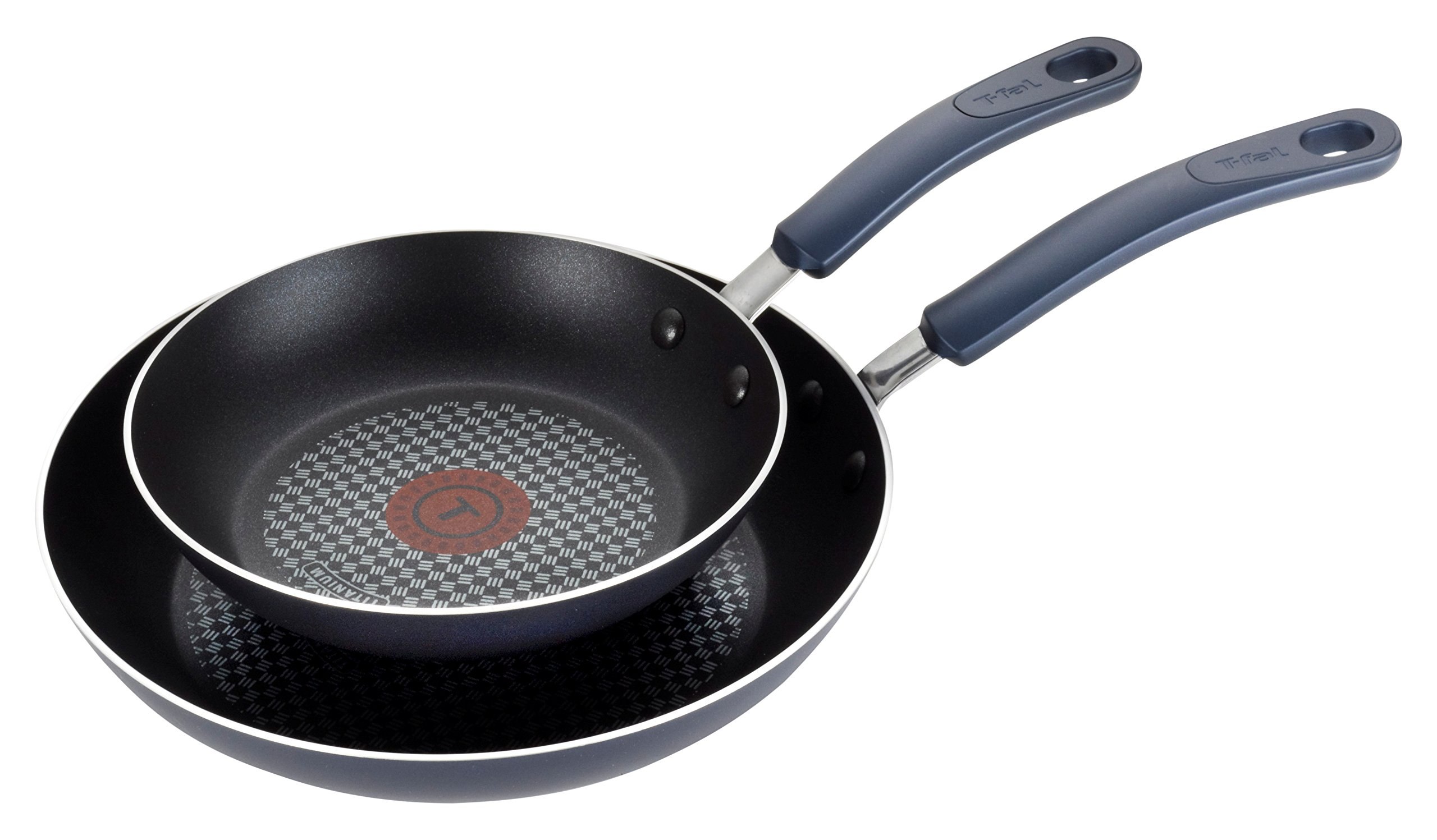 T-fal B129S2 Color Luxe Hard Titanium Nonstick Thermo-Spot Dishwasher Safe PFOA Free 8-Inch and 10-Inch Fry Pan Set Cookware, 2-Piece, Blue