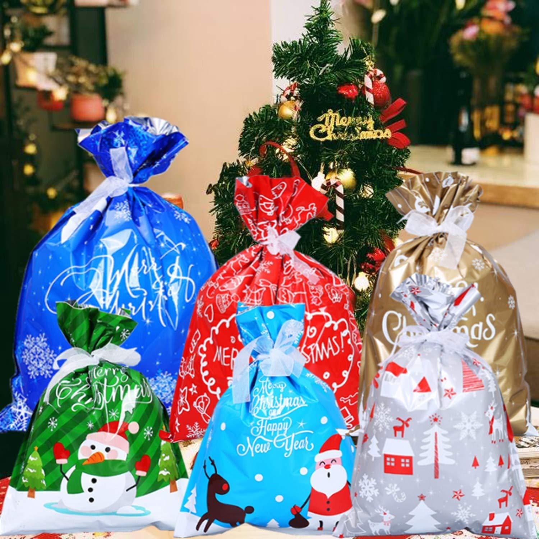 30pz Sacchetti Regalo di Natale di Grandi Dimensioni ,Sacchetti Assortiti Confezioni Regalo per Regali Natalizi Sacchetti per Feste di Natale,Sacchetti Regalo di Capodanno con fascette e 50 etichette