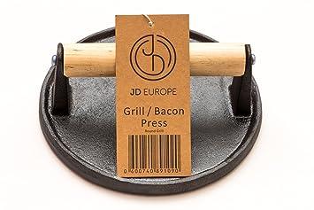 Prensa para bacon/parrilla de hierro fundido con forma redonda, 0,9 kg