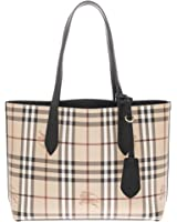 Burberry Women's Small Reversible Handbag in Haymarket Check and Leather Black