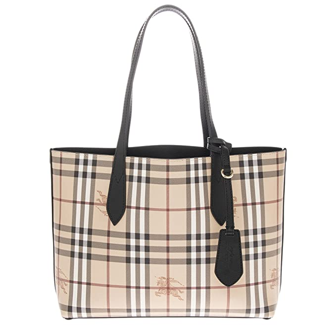 Burberry Women s Small Reversible Handbag in Haymarket Check and Leather  Black  Amazon.ca  Clothing   Accessories a1d5944d73441