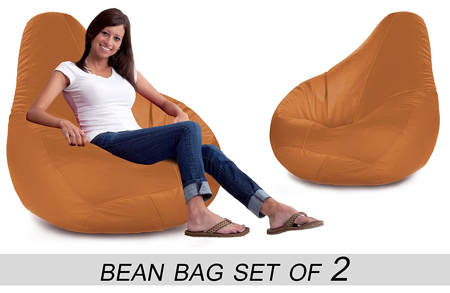 Bedspun Set Of 2 Faux Leather Bean Bag Without Beans Tan XXL Amazonin Home Kitchen
