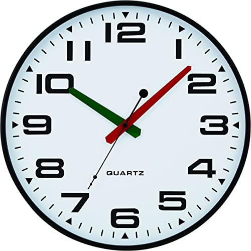 Tempus TC2388FE Slim Profile Wall Clock with Green and Red Contrasting Hands and Silent Sweep Quiet Movement, 13 , Black