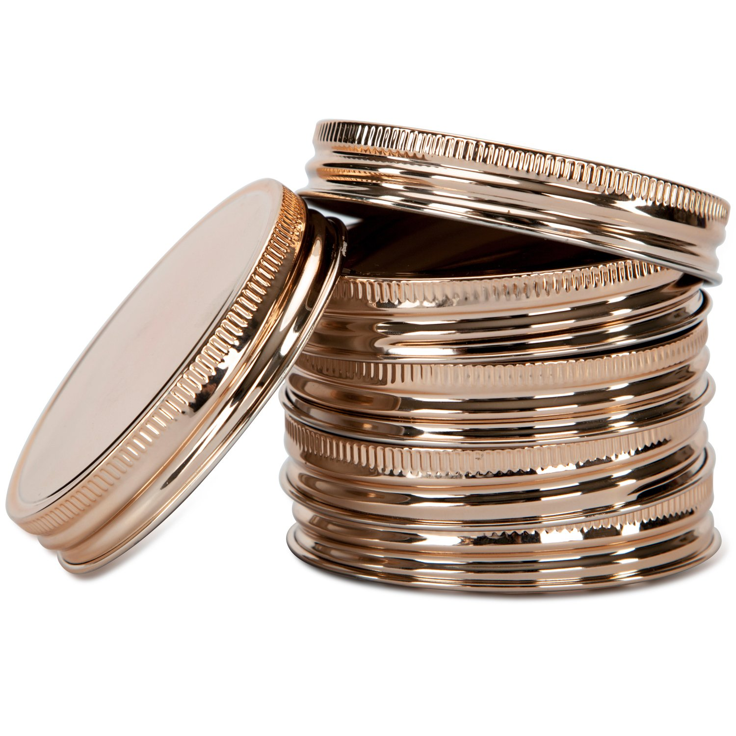 Jillmo Large Copper-Coated Mason Jar Lids -Stainless Steel Storage Caps, Wide Mouth-6pcs