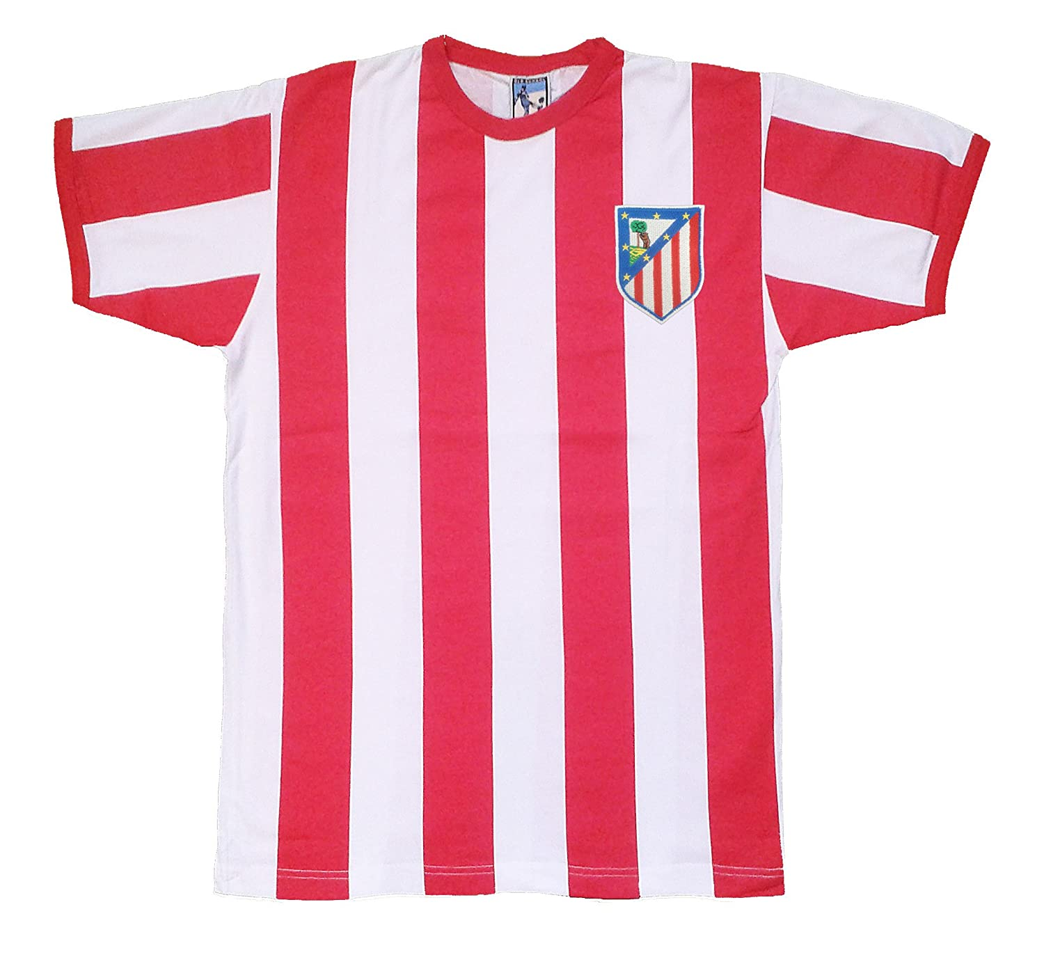 Retro Athletico Madrid 1960s Striped Football T Shirt with Embroidered Badge