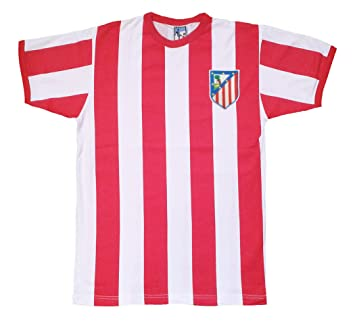 3fd505c79 Retro Athletico Madrid 1960s Striped Football T Shirt with Embroidered  Badge (S)