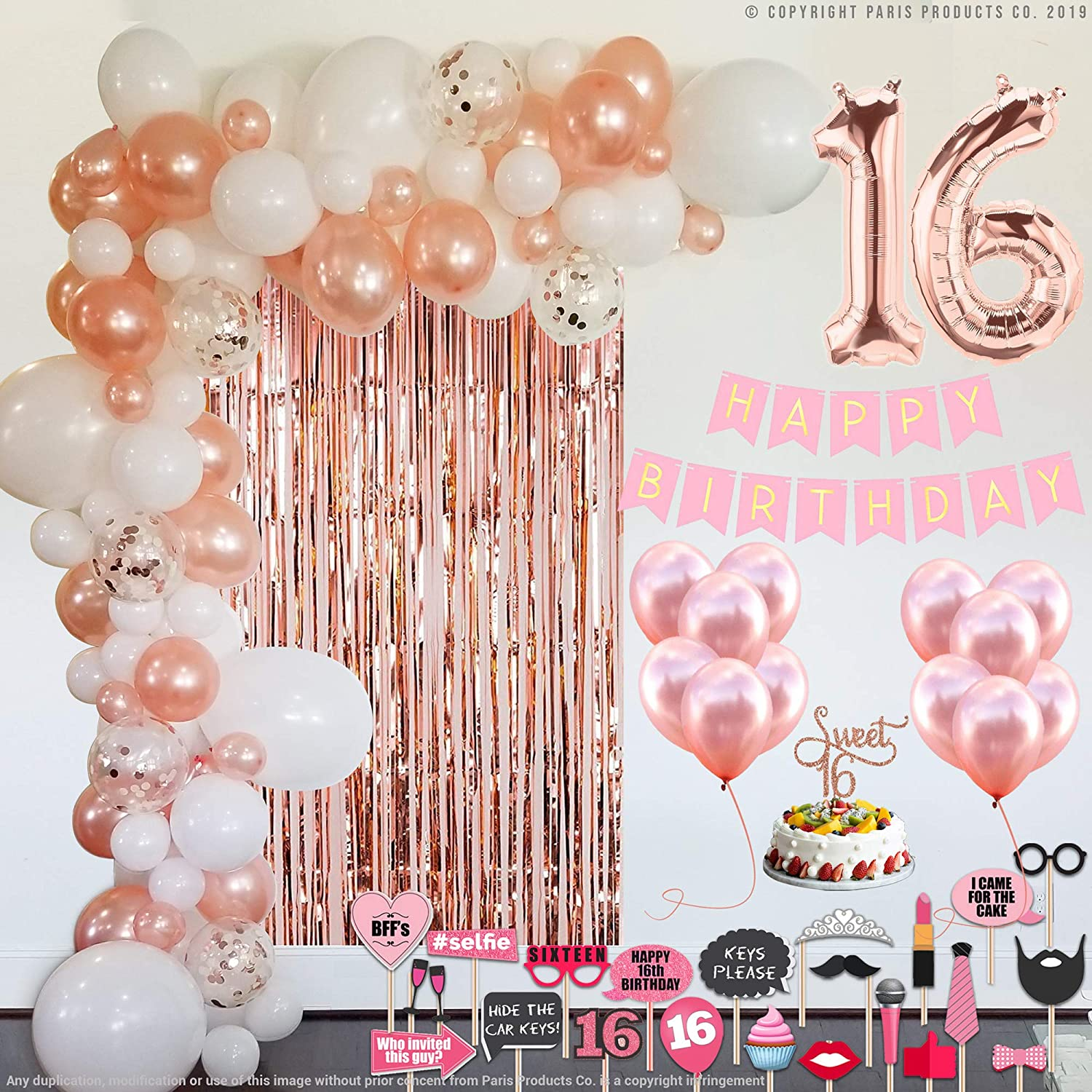 Sweet 16 Sixteen Birthday Party Supplies Decorations 16 Year Old Birthday Party Decorations 16th Happy Birthday Banner Balloons Numbers 16th Birthday Decorations Rose Gold And Silver for Girls Boys