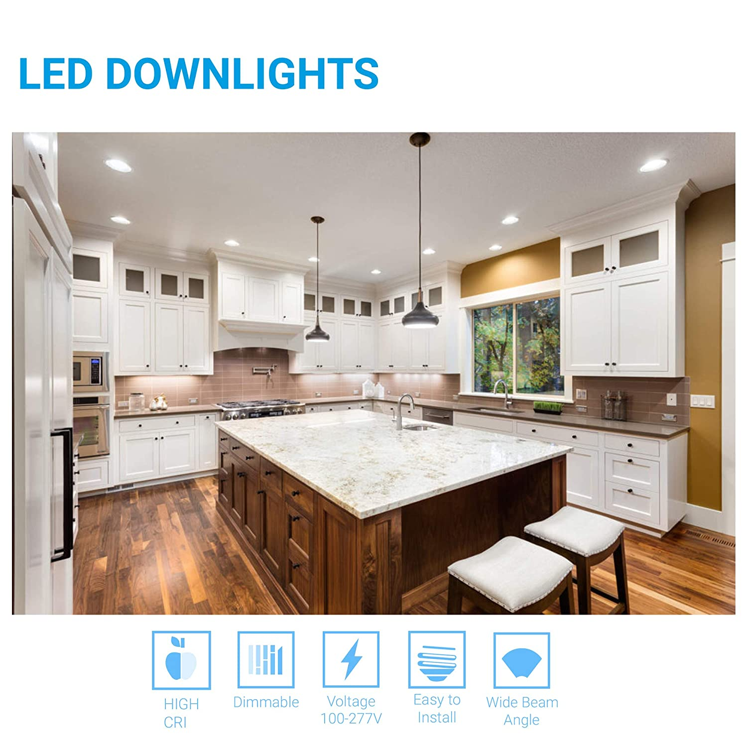 Energy Star /& FCC Approved 1-Pack 8-inch LED Downlight with Junction Box Replaces 200 Watt High CRI Slim Body to fit in sloped and Shallow 30W 4000K Cool White 2230 Lumens cETLus CRI 90+