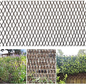 shinea Natural Lattice Willow Trellis for Climbing Plants,Expandable Garden Faux Privacy Fencing Screen, Outdoor Decorative Wood Fence (4)