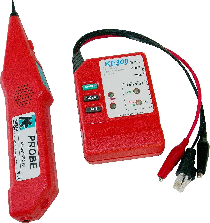 Kurth Electronic KE 301 Rojo - Probador de cable de red (120 V, 68 x 96 x 25 mm) 0.49562
