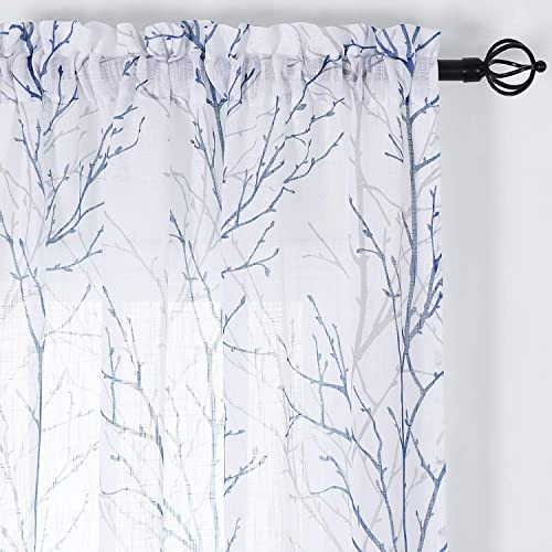 NICETOWN White Sheer Living Room Curtains with Navy Blue Grey Branch Pattern, Country Style Faux Linen Woven Texture Semitransparent Window Treatment for Flat Apartment, W50 x L95, 1 Pair