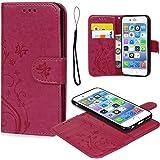 iPhone 6 Hülle, Leder Flip Wallet Cover in Book Style Stand Case Card Slot Leder Tasche Case Karteneinschub TPU innen 2 Combo Separate Karteneinschub und Magnetverschluß Kratzfestes und Schmutzunempfindliches in Rose Red für iPhone 6/iPhone 6S(2 in 1)
