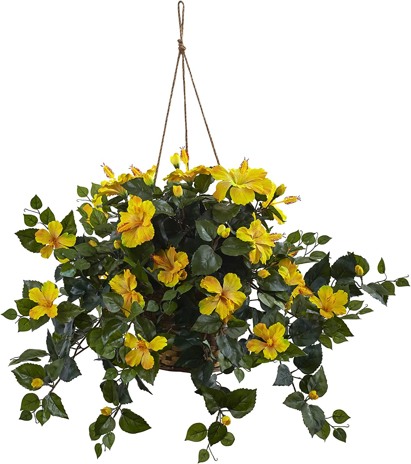 Nearly Natural 6866-YL 22in. Hibiscus Hanging Basket,Yellow,10.125'' x 17.5'' x 10.125''