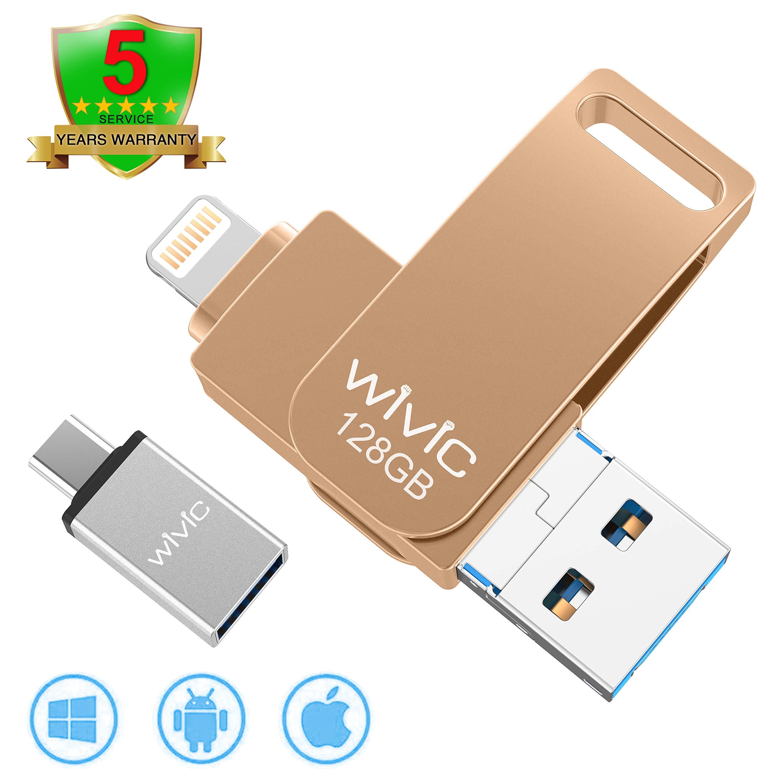 USB Flash Drive Photo Stick for iPhone Flash Drive for iPhone PhotoStick Mobile for iPhone USB Flash Drive Android Backup Drive OTG Smart Phone Memory Stick Storage iPAD USB 3.0 WIVIC 128GB Gold