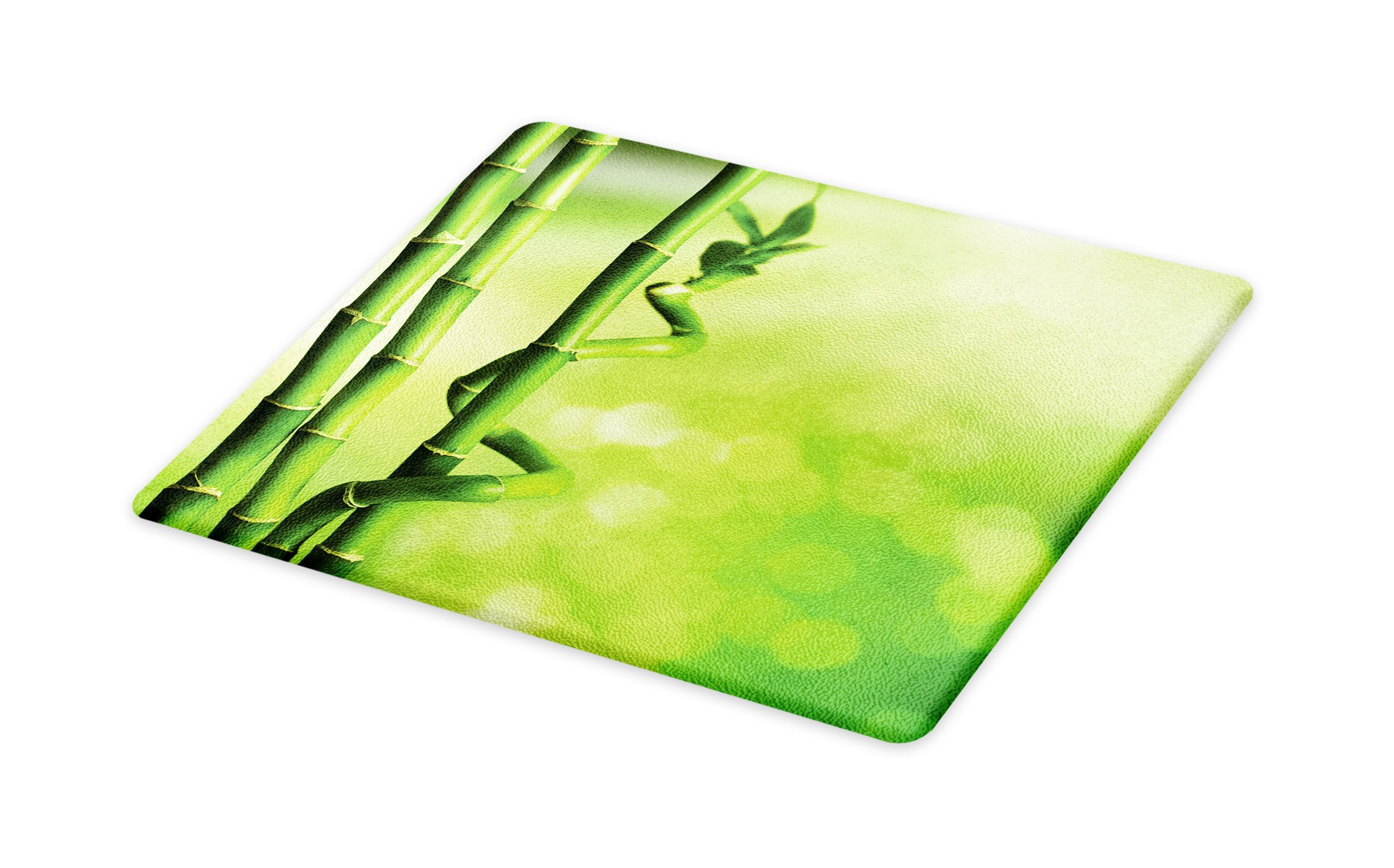 Lunarable Green Cutting Board, Bamboo Stems Nature Ecology Sunbeams Soft Spring Scenic Spa Health Relaxation, Decorative Tempered Glass Cutting and Serving Board, Large Size, Green Pale Green