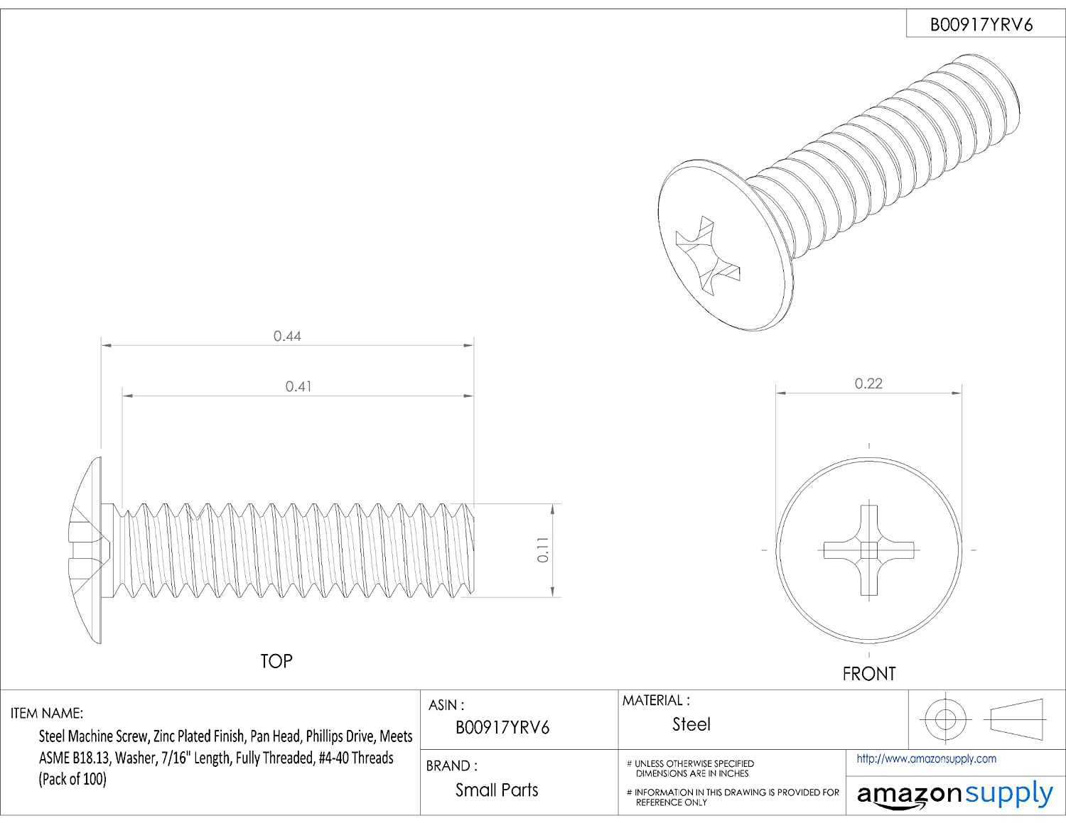 Fully Threaded Pan Head 7//16 Length Meets ASME B18.13 Internal-Tooth Lock Washer #4-40 UNC Threads Pack of 100 Phillips Drive Zinc Plated Finish Steel Machine Screw