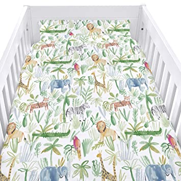 Childrens Cot Duvet Cover and Matching Pillowcase Set Cheeky Cats 90cm x 120cm