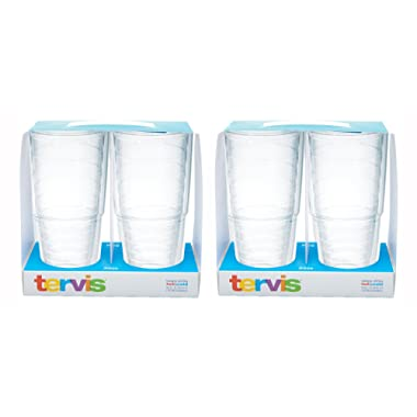 Tervis 24oz Clear Tumbler Set of 4, Each Tumbler is 4 Inches in Diameter by 7.75 Inches Tall