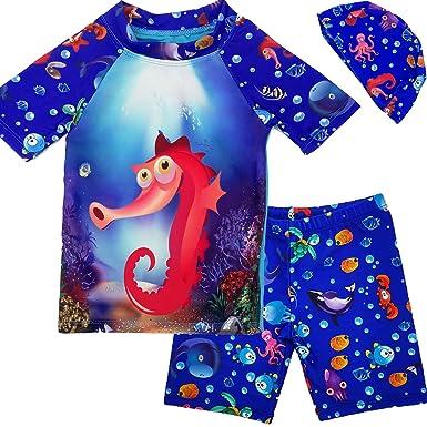 84acbe5511 Rash Guard for Boys 3Pcs Swimwear Set Swim Shirt Kids Swimsuits Bathing Suit  with Swim Hat