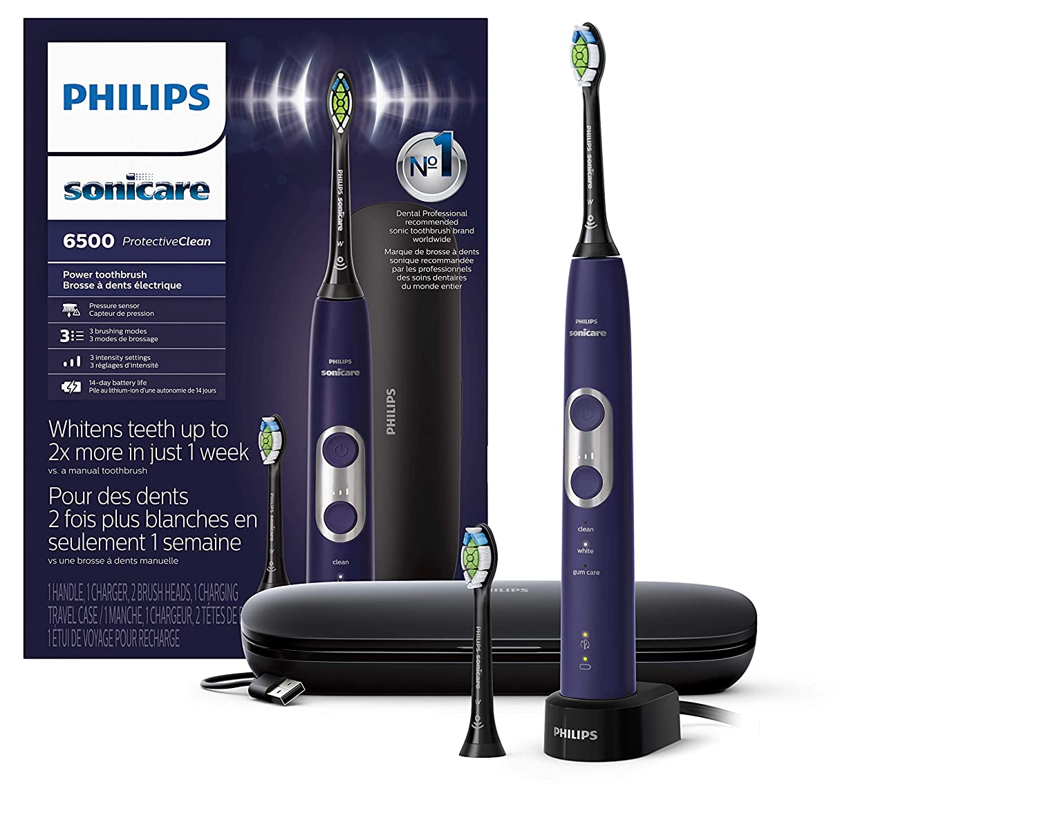 Philips Sonicare ProtectiveClean 6500 Rechargeable Electric Toothbrush with Charging Travel Case and Extra Brush Head, Deep Purple HX6462/09