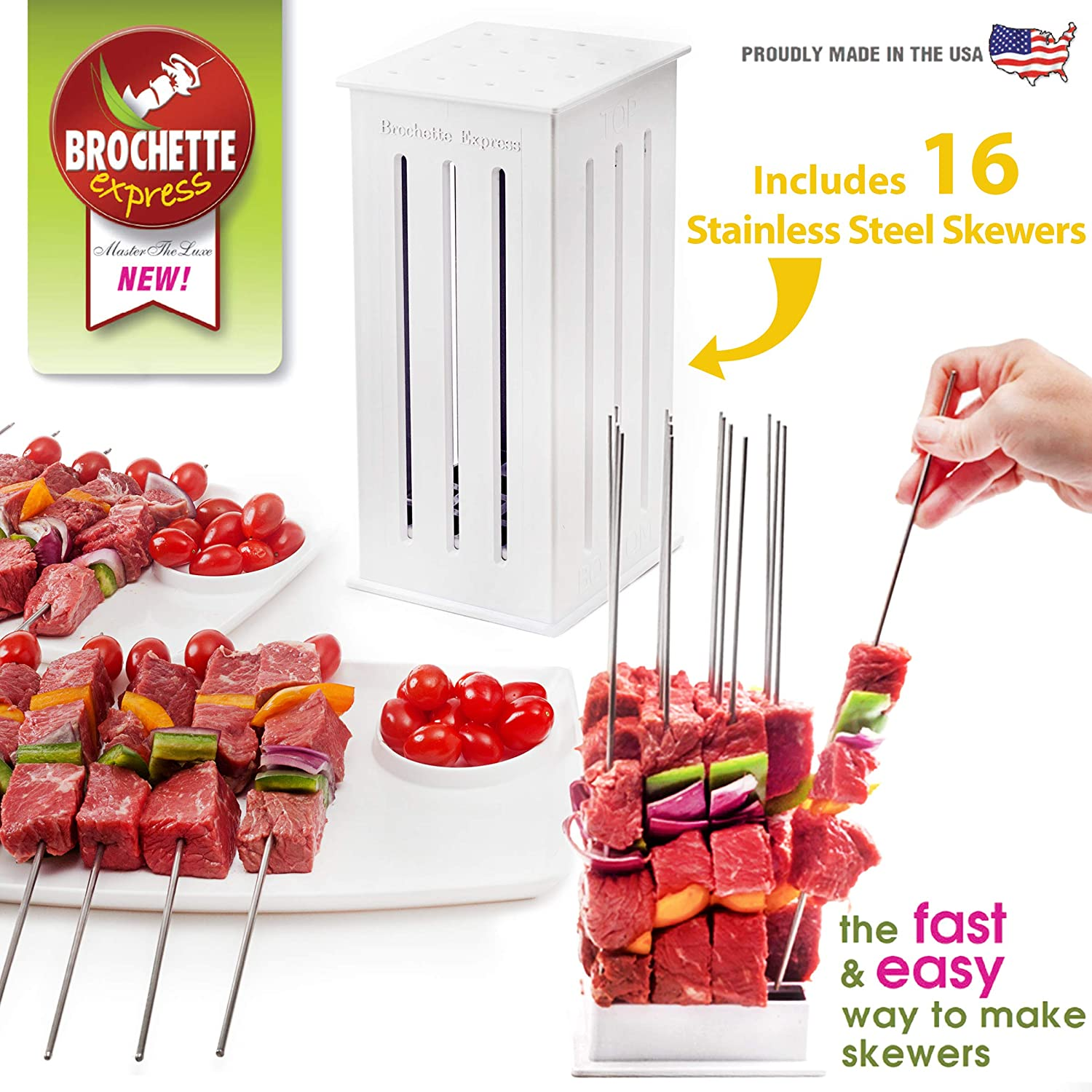 Brochette Express Kebab Kitchen Tool | 16 Stainless Steel Barbecue Skewers for Making Kabobs | Made in the USA