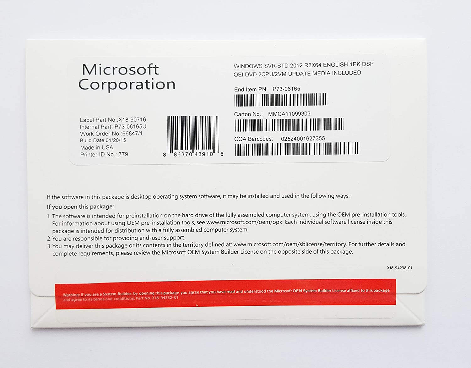 Microsoft - Windows Server Standard 2012 R2 x64 - 9595889 P73-06165