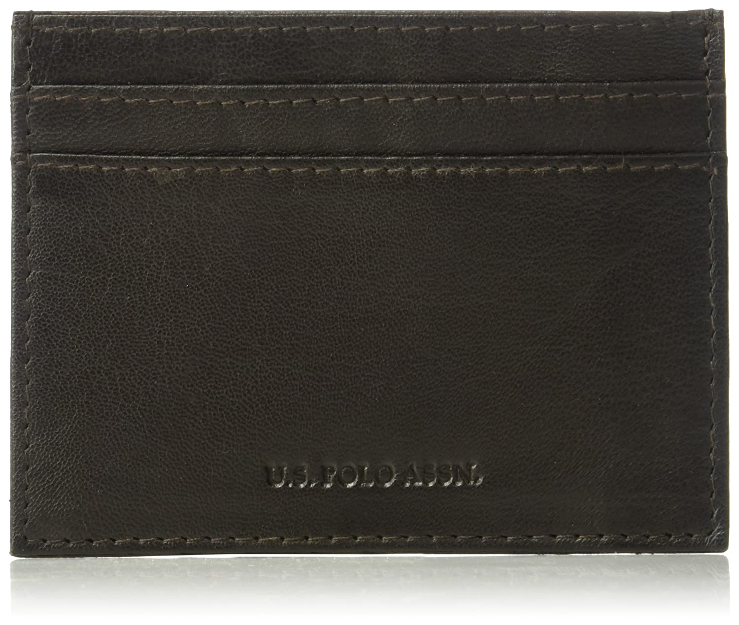 U.S. Polo Assn. Genuine Goat Leather Wallet, Clear ID Window, Card ...