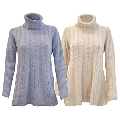 98ae71010d4bc Millers Cowl Neck Cable Knit Swing Jumper in Pale Bue or Cream RRP £29   Amazon.co.uk  Clothing