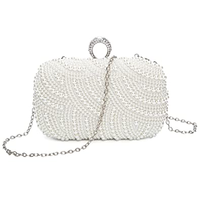 ed799d59293 Chichitop Womens Luxury Special Crystals Beaded Pearl Evening Clutch Bag,  White: Handbags: Amazon.com