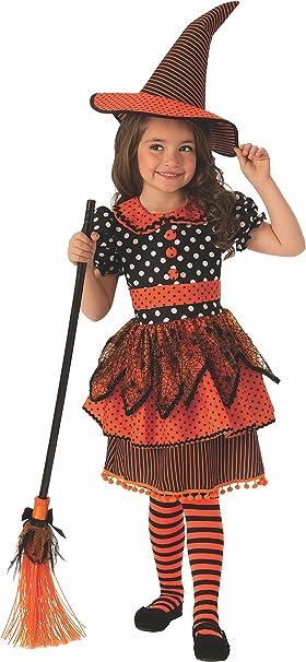 Halloween - Disfraz de Bruja para niña, naranja con lunares - 3-4 ...