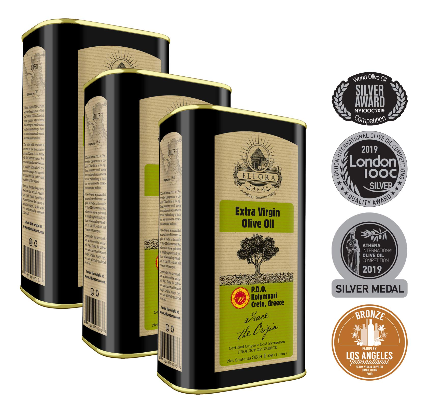 Ellora Farms | Certified PDO Extra Virgin Olive Oil | Traceable Single Origin & Single Estate Extra Virgin Olive Oil | Harvested in Crete, Greece | Kosher OU | 1Ltr. X 3 Tins, total 101.4 FL oz. by Ellora Farms