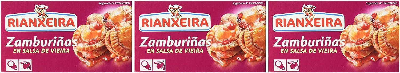 Rianxeira - Zamburiñas en salsa de vieira - Con aceite de oliva - 75 g - [Pack de 3]: Amazon.es: Alimentación y bebidas
