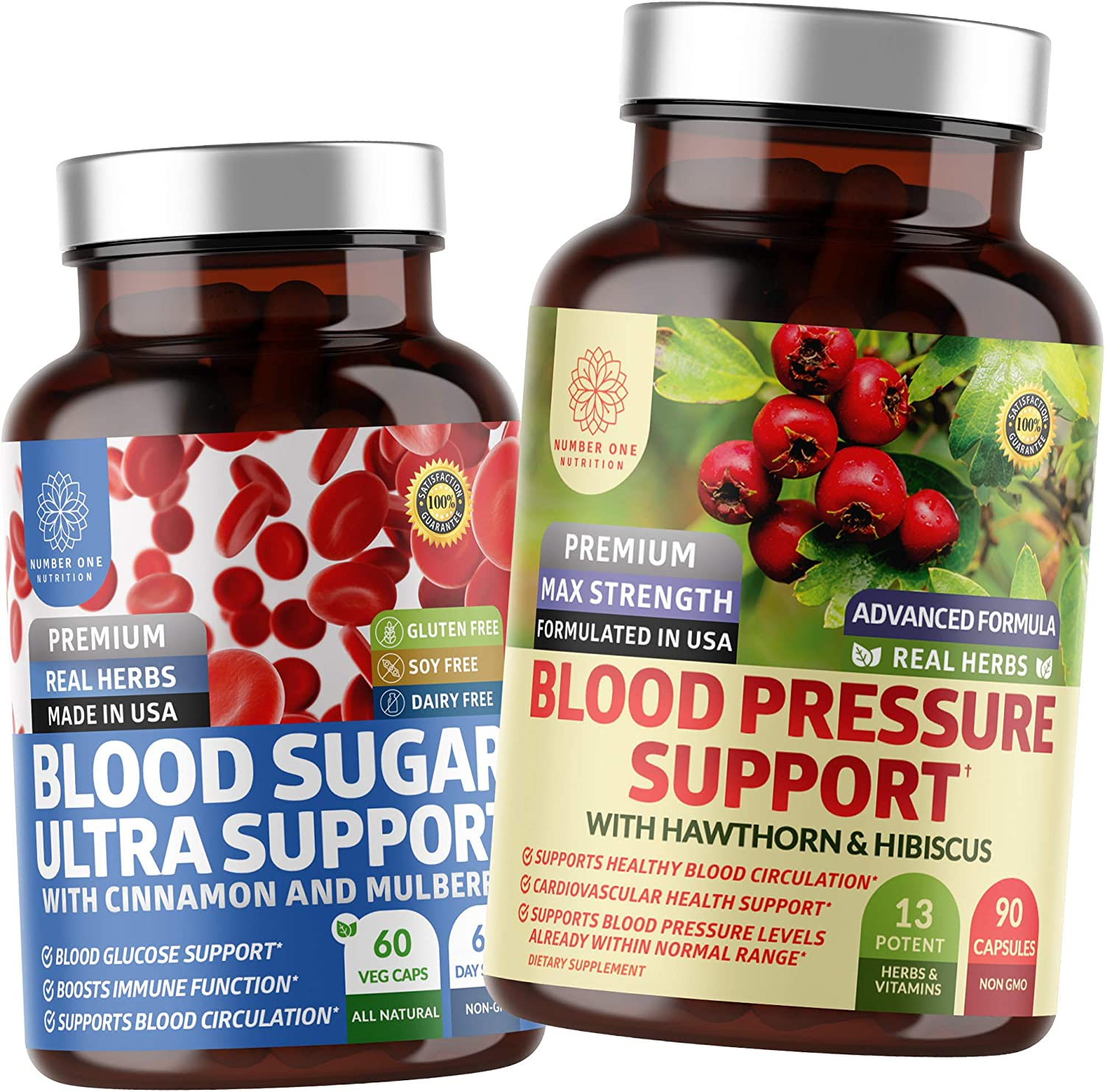 N1N Premium Blood Pressure Support and Blood Sugar Ultra, All Natural Supplements to Support Blood Pressure Levels and Glucose Metabolism, 2 Pack Bundle