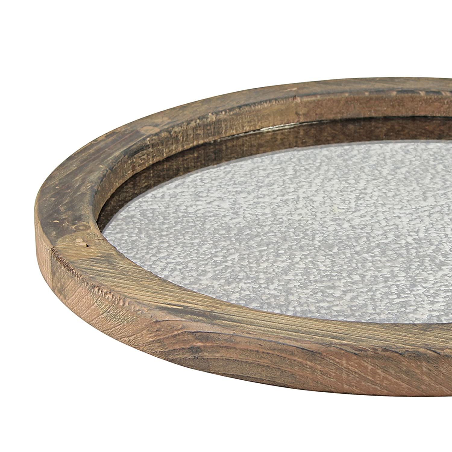 Unique Coffee Centerpiece for The Coffee Table or Any Table Top Dining Table Rustic Butler Tray Stonebriar Round Natural Wood Serving Tray with Antique Mirror
