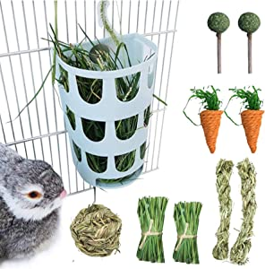 Rabbit Hay Feeder Rack Bunny Feeding Grass Rack Plastic Hanging Cage Manger Hay Holder with Chew Toys for Rabbits Guinea Pig, Chinchilla Ferret (10PCS)