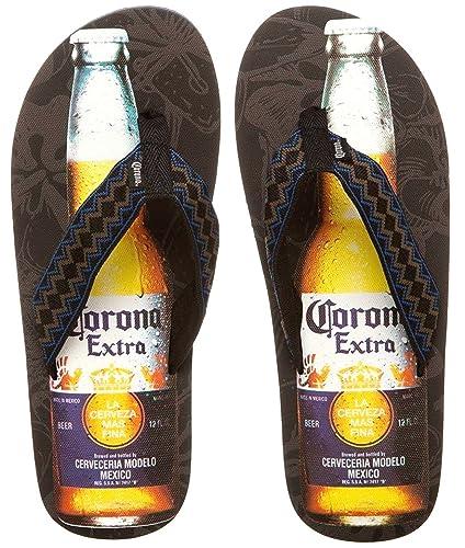 07e35883d Corona Extra Beer Bottle Mens Black-Brown-Blue Flip Flops Sandals Thongs  (Medium