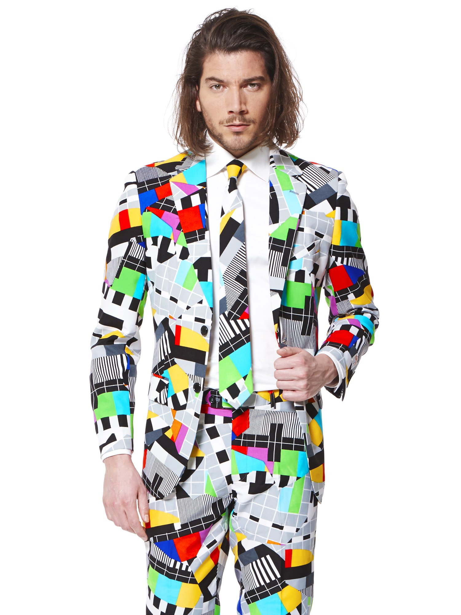 Opposuits Testival Suit for Men Comes with Jacket, Pants and Tie in Funny 80's TV Test Card Print – 100% by Opposuits