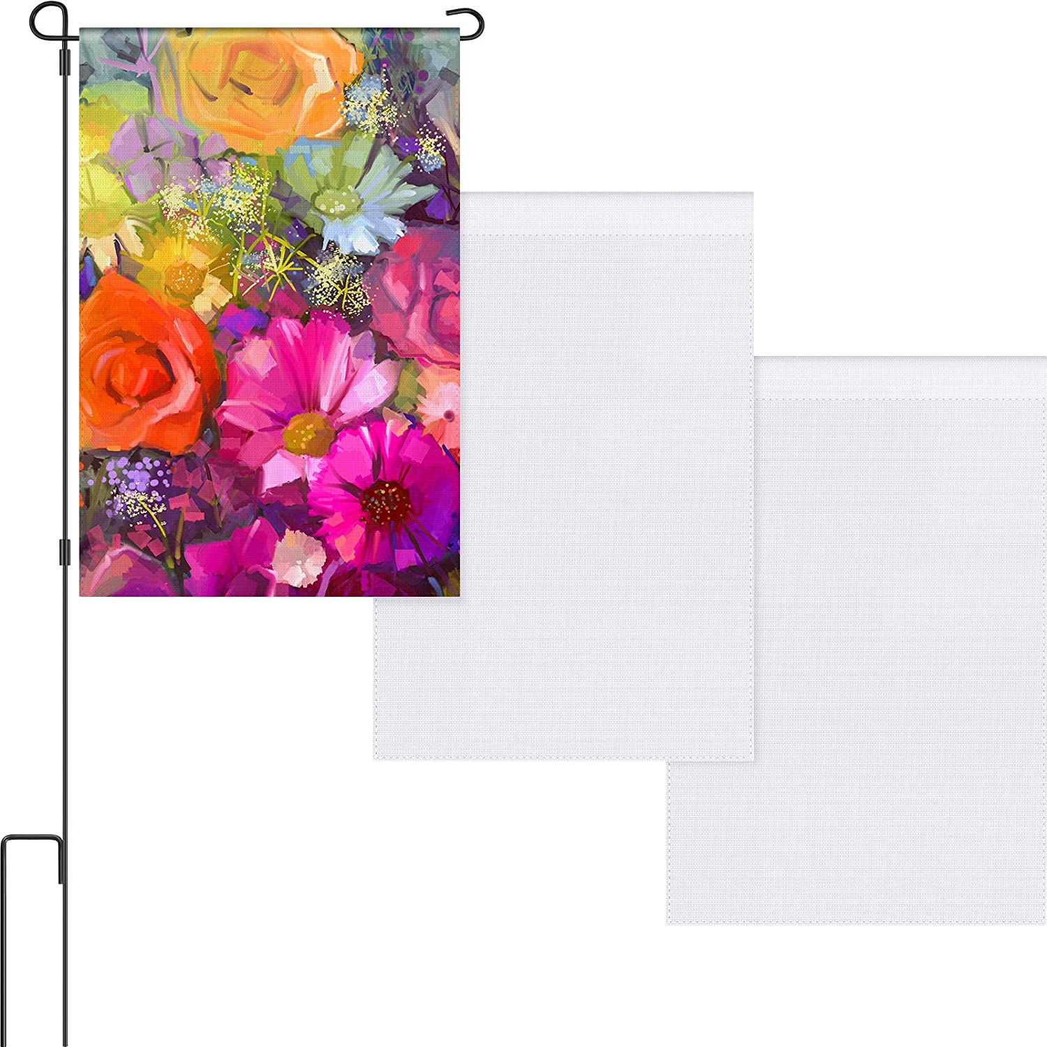 Double Sided Garden Flag Blank DIY Flag Solid White Flag House Garden Decorative Flag for Vinyl (HTV), Indoor Outdoor Party Decoration, Home Decoration, School Decoration (3)
